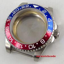 40mm flat sapphire glass red blue bezel Watch Case fit 2824 2836 8215 MOVEMENT