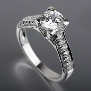 CERTIFIED ROUND DIAMOND RING COLORLESS 1 3/4 CT 14K WHITE GOLD WOMEN ACCENTED