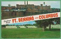 Vintage Postcard Georgia GA Greetings from Ft Benning & Columbus 1952