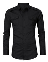 Mens Long Sleeves Dress Shirts Casual Luxury Slim Fit Two Pockets Camisas ZA6518