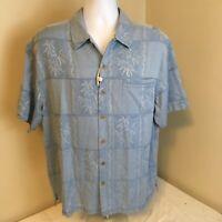 Caribbean Joe 100% Silk Blue Palms Floral Hawaiian Aloha Camp Shirt Large NWOT
