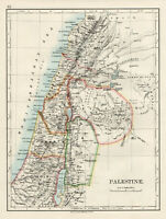 Antique Map Of Palestine Jerusalem  Johnston 1892