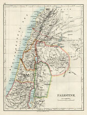Antique Map Of Palestine Jerusalem  Johnston 1892