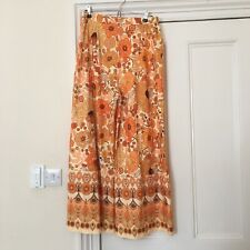 Paisley Psychadellic 70's Orange High Waist Palazzo Pant Trousers Floral XL