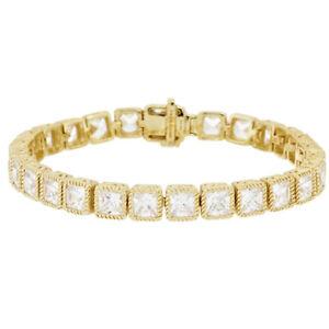 """QVC Judith Ripka Sterl & 14KClad 6-3/4"""" Princess Cut DMQ Tennis Bracelet $856"""