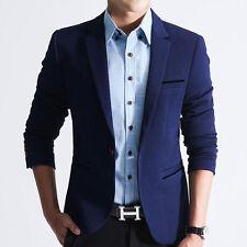 Navy Blue L Mens Lapel Collar Slim Fit One Button Coat Wedding Blazer Outwear