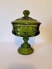 Vintage Green Indiana Kings Crown Glass Lidded Compote with Pedestal Foot