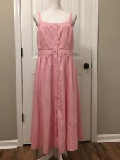 New Madewell Pink Fleur Bow-Back Dress Petal Pink Sz 8 H7268