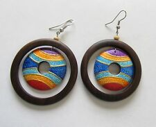 Fashion Earrings- circular- brown wood stripes blue orange purple  french wire