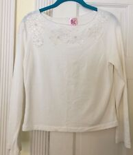 Pink Poodle White Stretchy Top With White Pearls & Beading Size Medium
