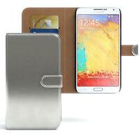 Tasche für Samsung Galaxy Note 3 Neo Case Wallet Schutz Hülle Cover Silber