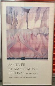 Vintage Santa Fe Chamber Music Festival 80' Georgia O'Keeffe Framed Poster 39x34
