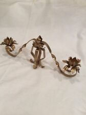 A VINTAGE METAL 2 ARM CANDELABRA WITH A GOLD FINISH #BR