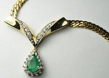 "14k Yellow Gold Diamond & Emerald Pear Shaped Necklace Set - Length 16"""