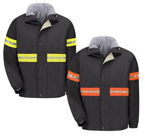 Red Kap Hi Vis Enhanced Visibility Reflective Work Jacket & Vest Combo Zip IN