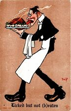 """Licked but not (b)eaten"" Waiter Signed R. Lillo Postcard"