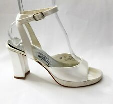 Saugus Shoe Special Occasions Sandals Bridal Shoes White Satin size 9.5 Prom VTG