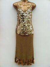 NAM LONDON Gold Paillette Sequin Crochet Cami & Skirt Suit Size S-M / UK 10-12