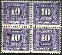 Canada #J10 used VF 1930 Second Issue Postage Due 10c dark violet Block of 4