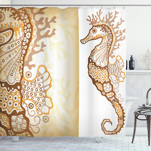 Ocean Shower Curtain Seahorse Exotic Fishes Print for Bathroom