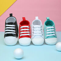 Newborn Infant Baby Boy Girl Toddler Sneakers Soft Sole Crib Casual Canvas Shoes