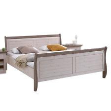 Bett Monaco Schlafzimmer Doppelbett Kiefer massiv white wash und Stone