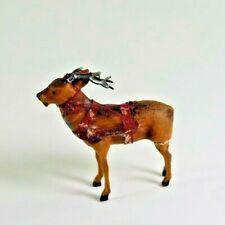 Antique German Composition Small Stick Leg Reindeer Christmas Figure W/ Harness