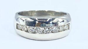 .50 ct natural DIAMOND mens band 8 mm ring SOLID PLATINUM (VIDEO)
