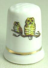 Vintage Collectible Souvenir Thimble Porcelain Two Owls on a Branch