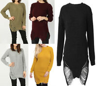 New Ladies Long Sleeves Distressed Long Knitted Jumper Dress