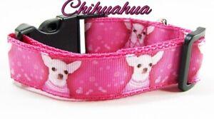 "Chihuahua dog collar handmade adjustable buckle collar 1"" or 5/8"" wide or leash"