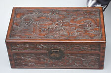 "16"" Chinese Huanghuali Wood Carving Auspicious Dragon Phoenix Chest Jewelry Box"