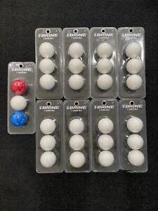 """(9) New Sealed Brine 2"""" Lacrosse Balls 8-White 1-white red blue - 27 balls total"""