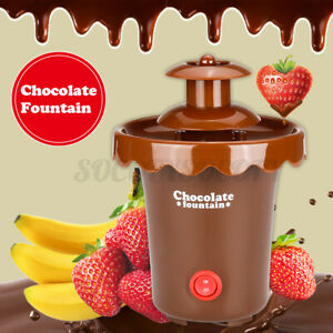 2 Tier Mini Electric Chocolate Fountain Fondue Melting Heated Waterfall