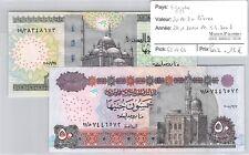 2 BILLETS EGYPTE - 20 ET 50 LIVRES - 24.1.2010 ET 3.3.2008