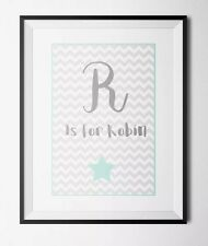 Personalised Baby Initial A4 Print -nursery Prints -new Baby Gift
