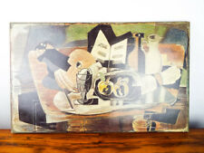 Vintage French Reproduction Braque Nature Morte Oil Painting on Print Canvas
