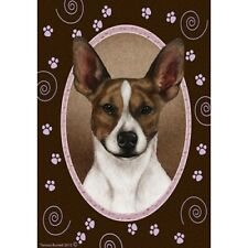 New listing Paws House Flag - Brown and White Rat Terrier 17130