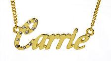 18k Chapado En Oro Con Collar Con Nombre Carrie-Familia Cumpleaños Cristales Novia