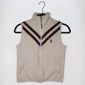 Ralph Lauren Golf Womens Sweater Vest Beige Stripe Zip Up Pockets Mock Neck S