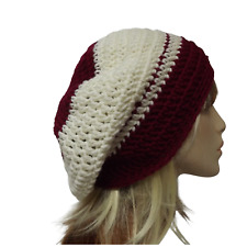 WOMEN CROCHET BEANIE SLOUCH CREAM / BURGUNDY BERET WOOL M SIZE WINTER KNIT HAT