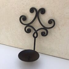Candle Holders Wall Sconces Pair Wrought Iron  Rustic Romantic Scroll