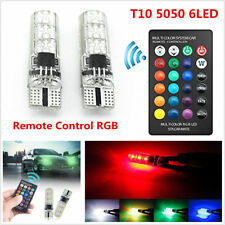 2x T10 5050 LED RGB Colorful Car Interior Wedge Side Light Strobe Kit Remote New