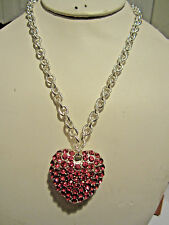 Pink Crystal Stud On Silver Ton Big Heart Pendant Silver Tone Link Necklace