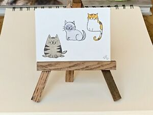"ACEO ORIGINAL Miniature Art By PJR ""Howie And Friends"" Card Fat Kitty Cats"
