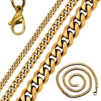 Edelstahlkette Panzerkette Königskette Golden Halskette Armband Massiv Edelstahl