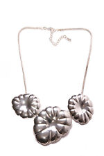 Fashionable Ladies Silver Necklace w Three Large Metal Flower Shape Plates(T296)