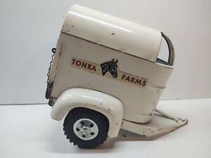Tonka Farms Metal White Horse Trailer Vintage 1950's 1960's Good Condition