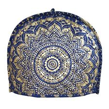 New Indian Ombre Blue Gold Mandala Printed Tea Cozy Hot Tea Pot Cover Tea Cozies