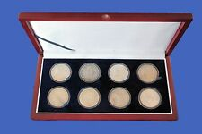 Wood Display Box Holds 8 Eight Large (Silver Dollar/Challenge) Coin Capsules
